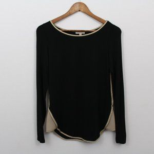 Anthropologie Bordeaux Black Long Sleeve Top